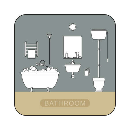 sanitary engineering: Bathroom interior with toilet, sink and hygienic supplies. Vector line illustration of bathroom. Illustration