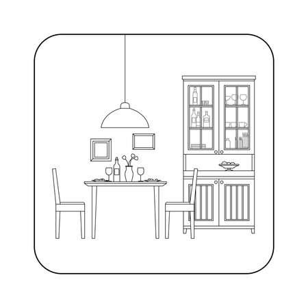 sideboard: Thin line interior of dining room. Vector line illustration of dinig room.