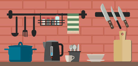 kitchen counter: Kitchenware flat icons. Vector illustration of kitchen counter with cooking utensils. Illustration