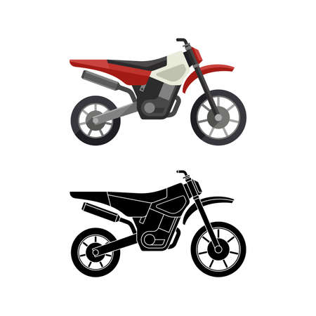 supercross: Motorcycles flat icon and line illustration with black background. Vector simple illustration.