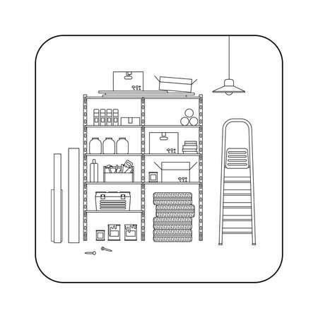 Abstellraum Linie Innenraum mit Metall Lagerung. Vector dünne Abbildung der Garage oder Abstellraum. Vektorgrafik