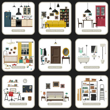 Set of interior rooms on white backgrounds. Vector flat illustrations of bathroom, living room, kitchen, etc.