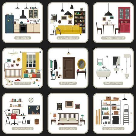 Conjunto de espacios interiores en los fondos blancos. Vector ilustraciones planas de baño, sala de estar, cocina, etc.