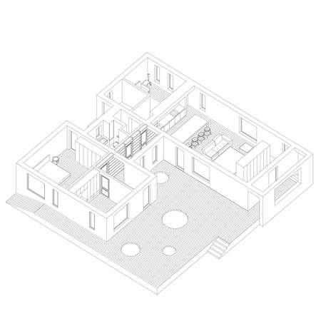 inside house: Isometric line illustration of the house inside.