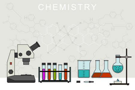 chemical equipment: Chemistry banner with chemical equipment. Chemical experiences.