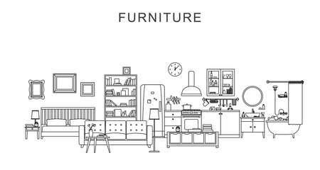 Vector line illustration of furniture and home decoration.