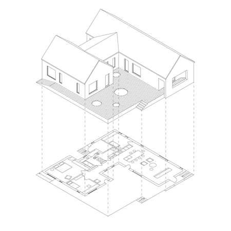 esquema: Casa con proyección en planta sobre fondo blanco. ilustración línea isométrica del bosquejo de la casa.