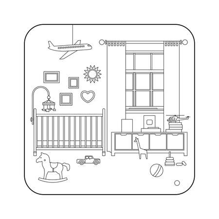 nursery room: Baby room interior. Vector line illustration of nursery with furniture and toys. Illustration