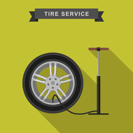 flat tyre: Tire service flat illustration with long shadow. Vector simple icons of tire and pump. Illustration