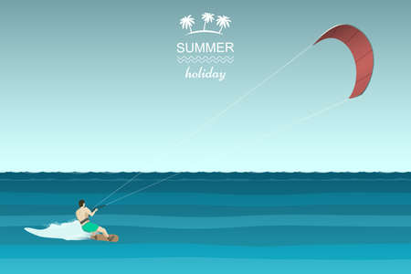 kite surf: Kitesurfing retro illustration. Man riding wakeboard with kite. Illustration