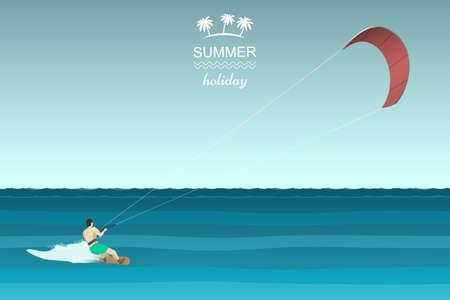 waves ocean: Kitesurfing retro illustration. Man riding wakeboard with kite. Illustration