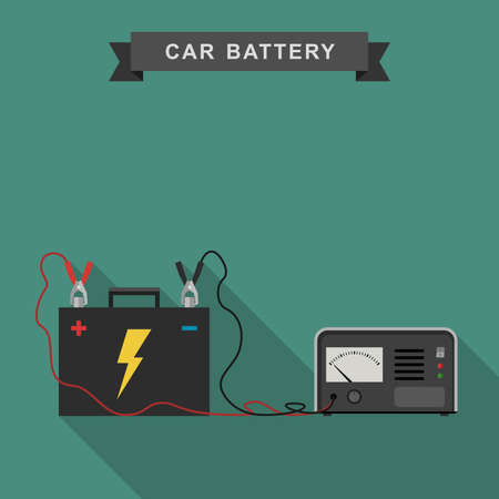 lead: Car battery with connected cable for recharging. Illustration