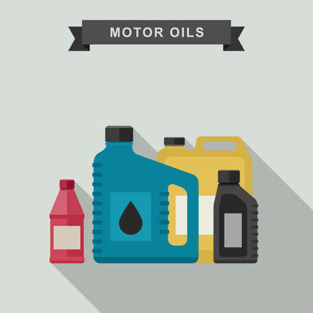 new motor vehicle: Motor oils icon in flat style. Vector simple illustration of different canisters with engine oil.