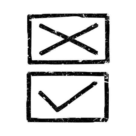 marks: Vector check marks. Grunge illustration of black check marks.