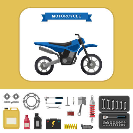 motocross: Motorcycle with parts in flat style. Vector simple illustration of motocross bike with moto parts and tools icons. Illustration
