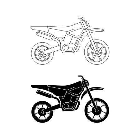 motorsprot: Motorcycles line icons. Vector thin illustration of enduro cross bike. Illustration