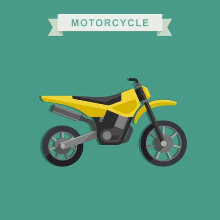motocross riders: Vector yellow motoctoss bike in flat style.