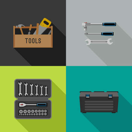 case: Tools icons in flat style. illustrations of hand tools.