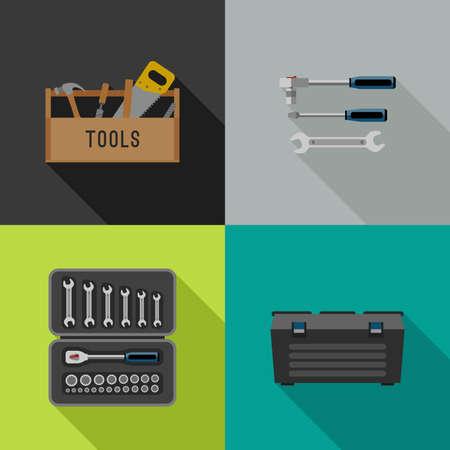 Werkzeuge Symbole in flachen Stil. Illustrationen von Handwerkzeugen.