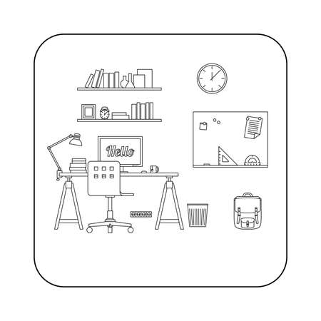 workspace: Workplace in room. line illustration of workspace.