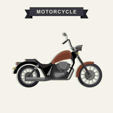 chopper: Chopper motorcycle in flat style. illustration of american chopper.