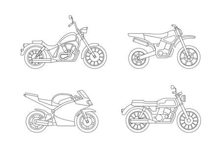 cruiser bike: Motorcycle line icons set. illustrations of different type motorcycles.