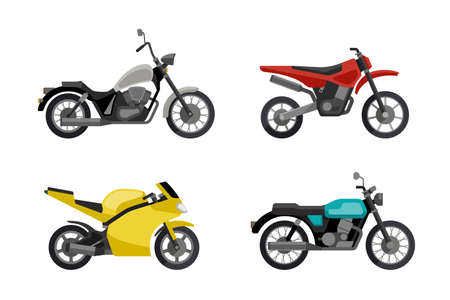 type: Motorcycles in flat style. Vector illustrations of different type motorcycles.