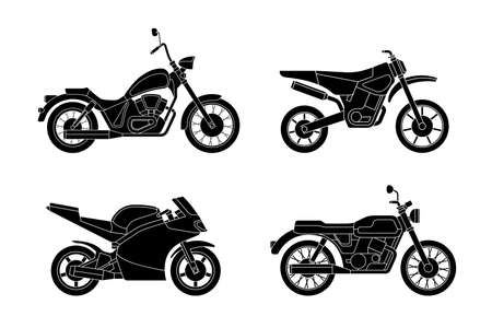 type: Motorcycles set. silhouettes of different type motorcycles. Illustration