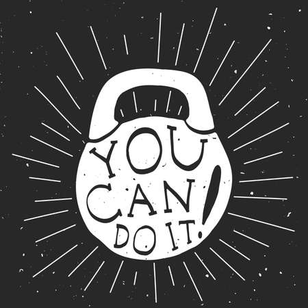 you can do it: Motivational banner with black and white silhouette of kettlebell.
