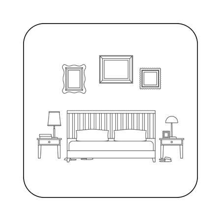 bedroom furniture: Bedroom line interior with furniture. thin illustration of bedroom.