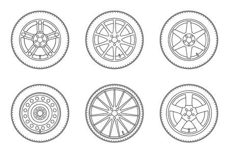 alloy wheel: Auto wheels line icons. thin line illustration of different wheels.