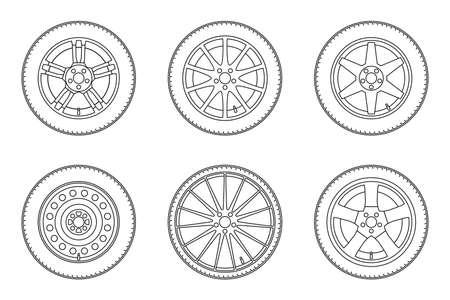 icônes de la ligne des roues de l'automobile. mince illustration ligne de différentes roues.