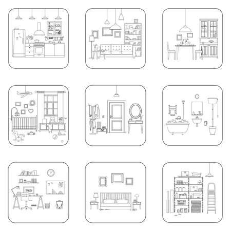 Set of line interior rooms. Thin illustrations of bathroom, living room, kitchen, etc. Stock Illustratie