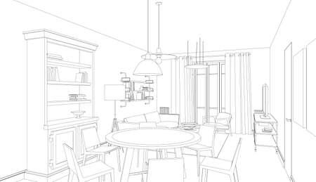 Dibujo lineal del interior sobre un fondo blanco