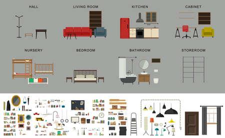 elementos interiores de muebles. iconos conjunto de muebles y accesorios de estilo plano.