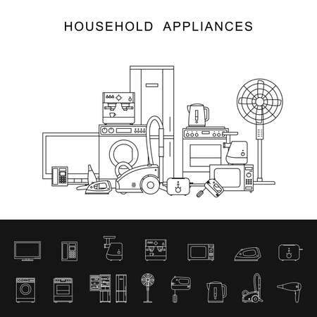 electronic: Household appliance with line icons microwave, coffee machine, washing machine, etc.