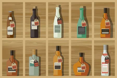 Icons of alcoholic beverages on the wooden shelves in flat style.