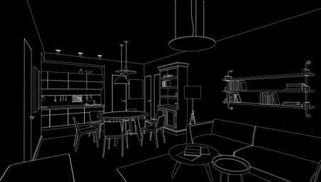 modern kitchen: Interior line drawing on black background. illustration.