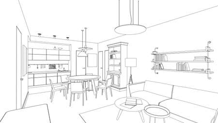 Line drawing of the interior on white background Stock Illustratie