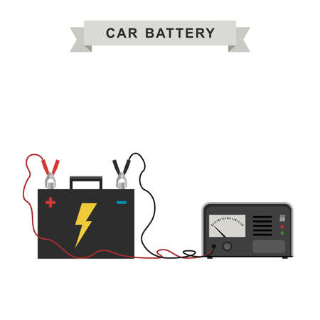 recharging: Car battery with connected cable for recharging. illustration.