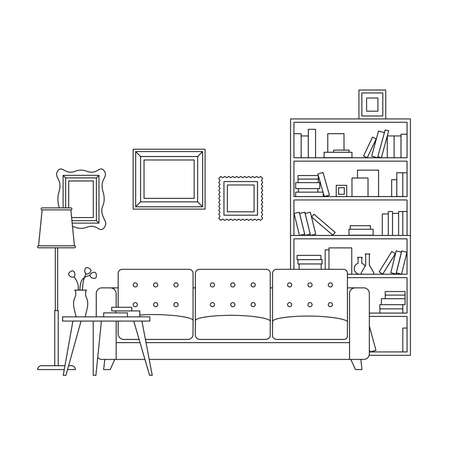 classic living room: Line interior of living room with furniture. thin illustration of living room.