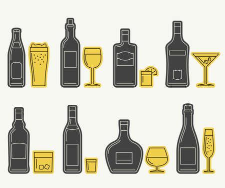 bebidas alcoh�licas: Botellas y vidrios iconos. iconos de l�neas delgadas de bebidas alcoh�licas.