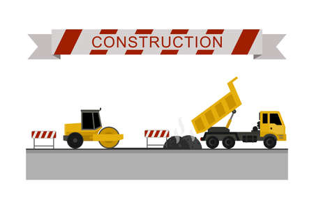 compactor: Asphalt compactor at work. Construction machines in flat style. icons of building machinery.