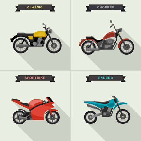 motorcycles set in flat style. illustrations with long shadow.