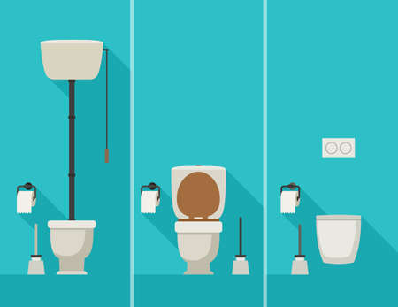 toilet brush: Toilets with long shadow flat illustration of toilets with toilet paper and brush.
