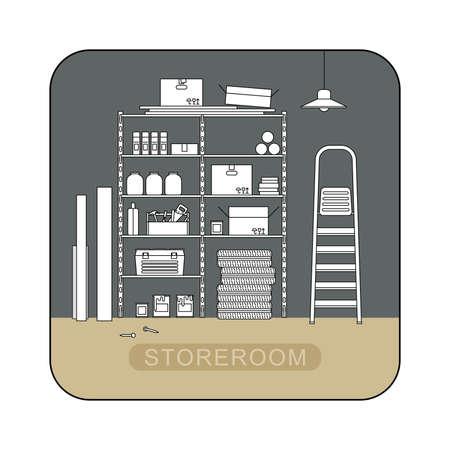 Abstellraum inter mit Metallspeicher Illustration der Garage oder Abstellraum.