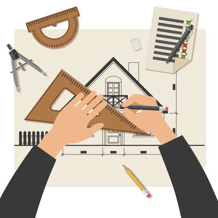 professional equipment: Simple illustration of blueprints with professional drawing equipment. Architect at work. Illustration