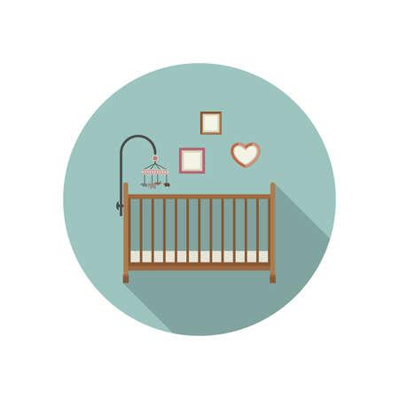 baby crib: Baby crib icon flat illustration of crib