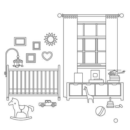 nursery room: Baby room line interior outline illustration of nursery with furniture and toys.