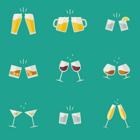 bebidas alcoh�licas: Tintineo de los vidrios iconos planos. Gafas con bebidas alcoh�licas